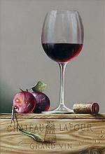 Rob Ritchie Chateau Latour, Plums and Cork Oil on