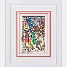 James Rizzi (1950-2011) Girls Out Shopping, Hand-cut silkscreen with 3D construction,