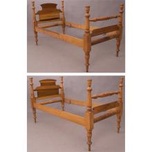 A Pair of American Curly Maple Twin Beds, 20th Century.