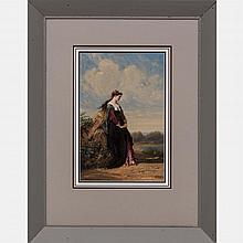 Henri Charles Antoine Baron (1816-1885) Lady in a Landscape, Oil on board,