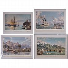 John Stobart (b. 1929) A Collection of Four Works Depicting Landscapes of the West, Colored lithographs,
