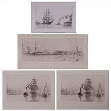 John Stobart (b. 1929) A Collection of Four Works Depicting Harbor Scenes, Lithographs,