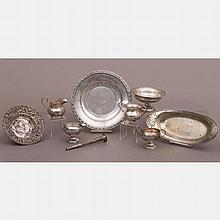 A Miscellaneous Collection of Sterling and Weighted Silver Creamers, Bowls and Trays, 20th Century.