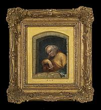 Attributed to Arie De Vois (1631-1680) Portrait of a Drunken Man with Pipe, Oil on board,