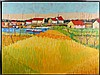 Crosby (20th Century) Harbor Village, Oil on canvas,