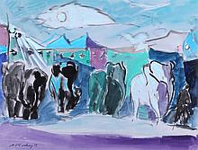 Joseph Benjamin O'Sickey (1918-2013) Circus Scene, Watercolor and gouache on paper,