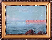 Dimitrie Florian (1899-1979) Coastal Scene, Oil on board,