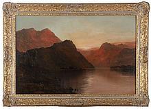 Alfred de Breanski, Sr. (1852-1928) Sunset Glow, Scotland, Oil on canvas, laid on board,
