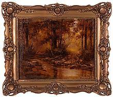 László Neogrady (1896-1962) River Landscape, Oil on canvas,