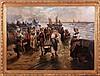 August Hagborg (1852-1921) Coastal Scene with Figures, Oil on canvas, laid on board,