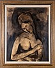 Perkins (20th Century) Portrait of a Lady, Ink on board,