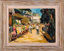 Nate Dunn (1896-1983) City Scene, Oil on canvas laid on board,