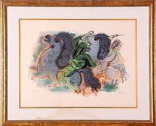 Reuven Rubin (Israeli,1893-1974) Horseman Negev, Colored lithograph,