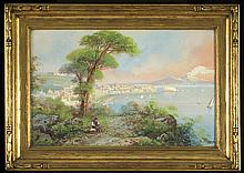 Y. Gianni (19th/20th Century) The Bay of Naples, Watercolor gouache on paper,