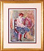 Barbara A. Wood (20th Century) Untitled (Girl Sitting), Colored lithograph,, Barbara A. Wood, Click for value
