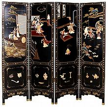 A Chinese Black Lacquered Carved Jade and Colored Stone Four Panel Floor Screen, 20th Century.