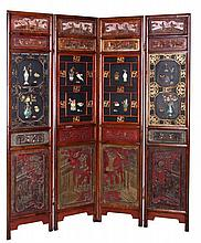 A Chinese Lacquered Four Panel Floor Screen, 19th/20th Century.