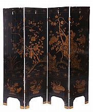 A Chinese Lacquered Four Panel Floor Screen, 19th Century,