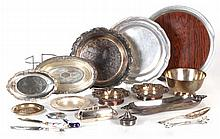 A Miscellaneous Collection of Silver Plated and Pewter Serving Items, 20th Century.