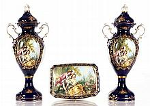 A Pair of Aichi Seto Japan Transfer Printed Porcelain Lidded Urns, 20th Century,