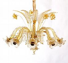 A Venetian Colored Glass Flower Form Chandelier, 20th Century.
