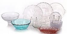 A Miscellaneous Collection of Clear and Colored Glass Serving Items, 20th Century,