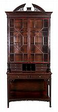 A Chinese-Chippendale Style Carved Mahogany Secretary Bookcase, 20th Century.