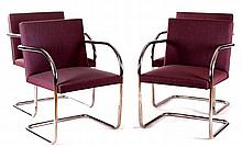 A Set of Four Brno Chairs Designed by Mies van der Rohe for Knoll, Mid-20th Century.