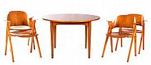 A Nordiska Kompaniet Laminated Birch Table with Four Chairs in the Style of Elias Svedberg, 20th Century,