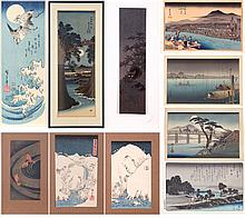 A Collection of Eight Restrike Woodblock Prints by Hiroshige, 20th Century.