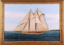 Thomas H. Willis (American, 1850-1925) A Two-Masted Racing Schooner at Sea, Oil on canvas with silkwork,