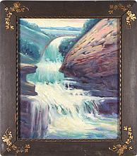 Cherry Ford White (American, act. 1918-1940s) Mountain Scene with Waterfall, Oil on canvas,
