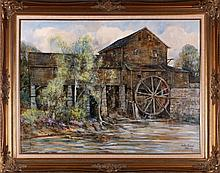 Leslie Cope (1913-2002) Springtime at the Mill, Pigeon Forge, Tenn., Oil on canvas,