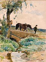 Leslie Cope (1913-2002) Back to the Barn, Coopermill Rd., Zanesville, Watercolor on paper,