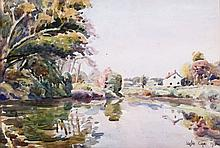 Leslie Cope (1913-2002) On the Licking River, Zanesville, Ohio, Watercolor on paper,