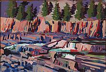 Mark David Gottsegen (1948-2013) Upper Kotenai River Falls 35°F, Libby Mt., 1988, Acrylic on paper on board,