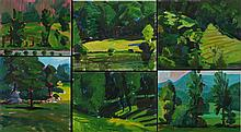 Mark David Gottsegen (1948-2013) Six Works Depicting Landscapes, Acrylic on board.
