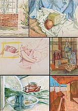 Artists Unknown (20th Century) Six Works Depicting Still Lifes, Watercolor on panel coated with absorbent ground, one acrylic.