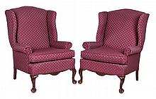 A Pair of Victorian Walnut Upholstered Wing Back Chairs, 19th Century.