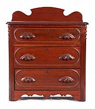 An American Walnut Diminutive Chest of Drawers, 19th Century.