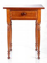 An American Tiger and Birdseye Maple Side Table, 19th Century.