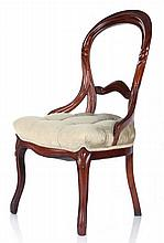 A Victorian Balloon Back Walnut Side Chair, 19th Century.