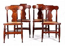 A Set of Four American Birdseye Maple Side Chairs with Caned Seating, 19th Century.
