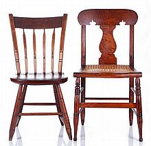 An American Tiger Maple Side Chair with Cane Seating, 19th Century,