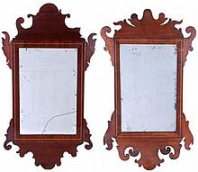 Two American Chippendale Style Mahogany Mirrors, 19th Century.