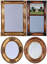 A Group of Four American Gilt, Carved and Reverse Painted Mirrors, 19th Century.