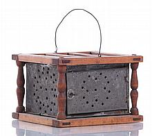 A Shaker Walnut and Tin Foot Warmer, 19th Century.