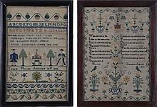 Two Needlework Samplers by Sarah Miles (August 30, 1842) and Harriot Gillingham (Age 12, 1847), 19th Century.