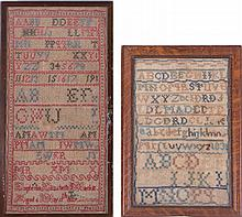 Two Needlework Samplers, c. 1831 and 1832.