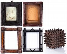 A Group of Four Tramp Art Frames, 19th/20th Century,